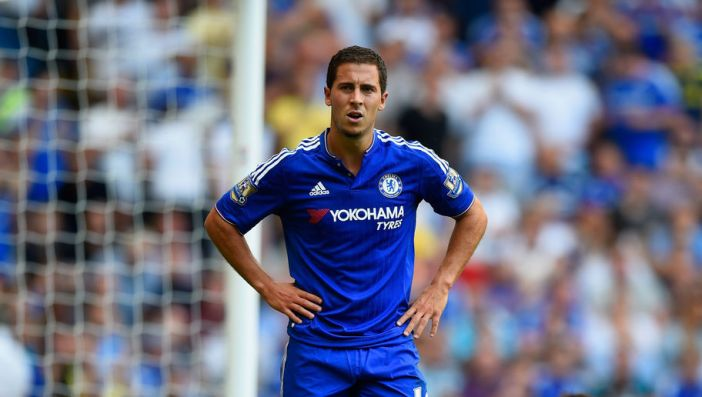 LONDON, ENGLAND - AUGUST 08:  Eden Hazard of Chelsea reacts during the Barclays Premier League match between Chelsea and Swansea City at Stamford Bridge on August 8, 2015 in London, England.  (Photo by Mike Hewitt/Getty Images)